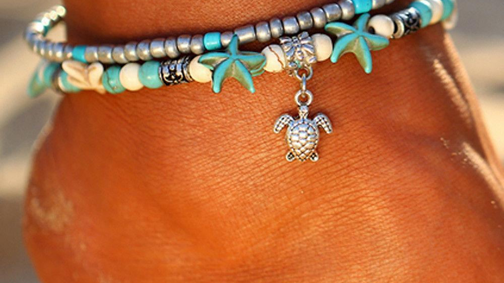Double Beaded Turtle and Starfish Anklet