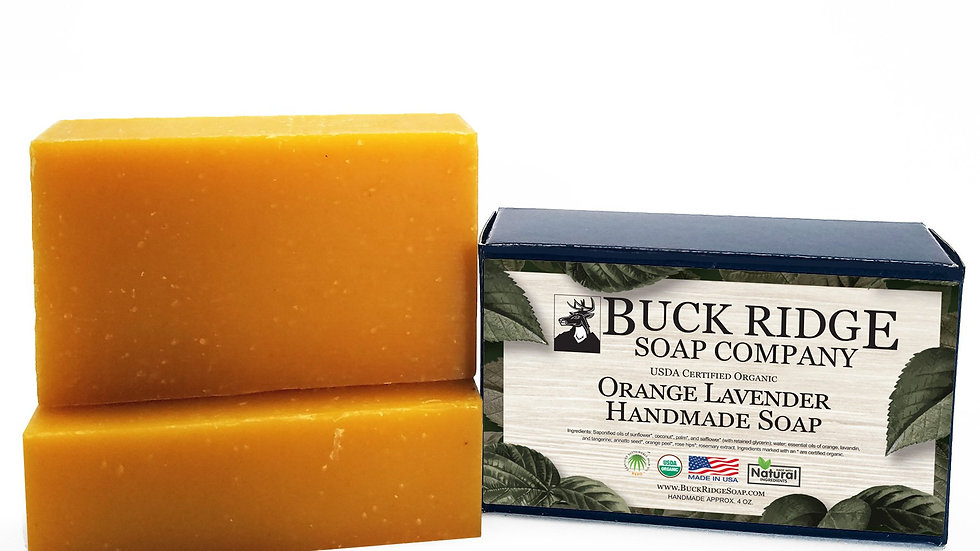 USDA Certified Organic Orange Lavender Handmade Soap, vegan. Made in USA.