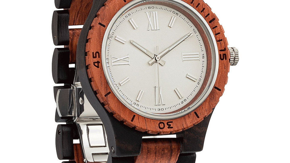 Men's Handcrafted  Ebony & Kosso Wood Watch, ethically sourced.