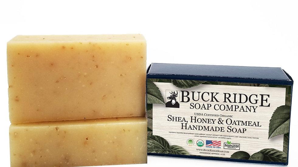 USDA Certified Organic Shea, Honey and Oatmeal Handmade Soap made in USA