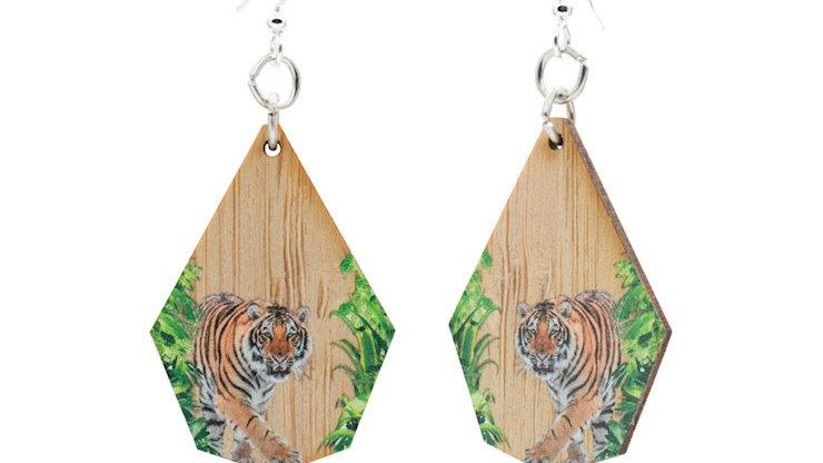 Bamboo Earrings with tiger print, eco-fashion, sustainable