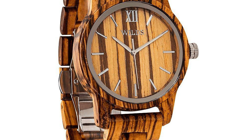 Hand Made Engraved Zebra Wood Watch, Elegant and Classy Natural Wood