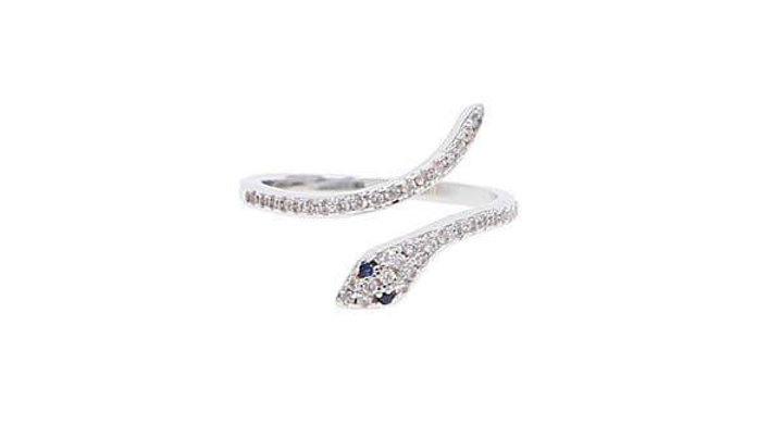 Sterling Silver with cubic zirconia diamond Snake Ring,  Adjustable from 6 to 8