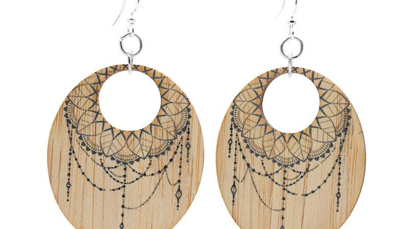 Bamboo Earrings with Dream catcher design, eco-fashion, sustainable.