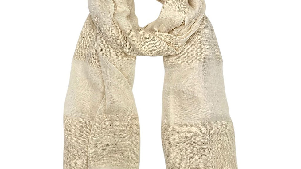 Organic Cotton Scarf, hand loomed.  Cream Color dyed with coconut husks.