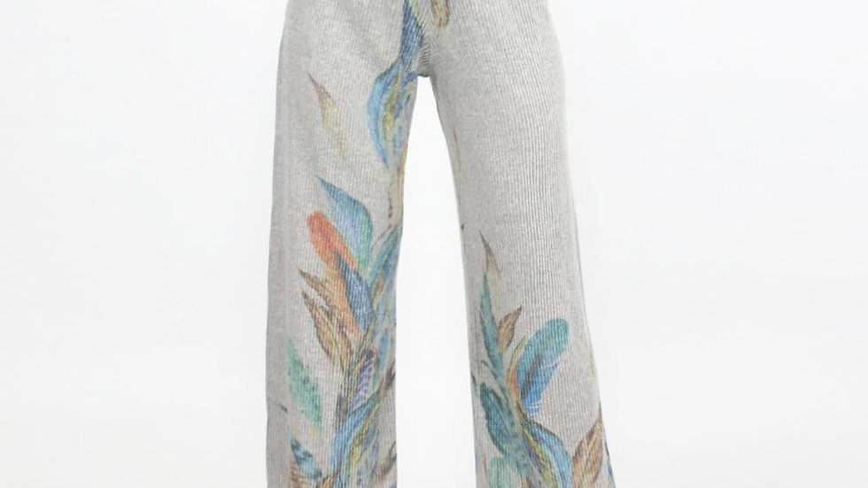 High Waist Feather Print, Wide Leg Stretchy Comfortable  Pants