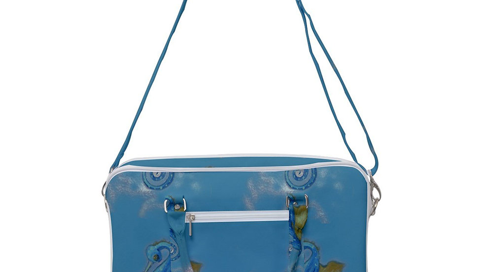 Seahorse Blue Cross Body-Shoulder Bag, Heavy Weight Canvas, Machine Washable