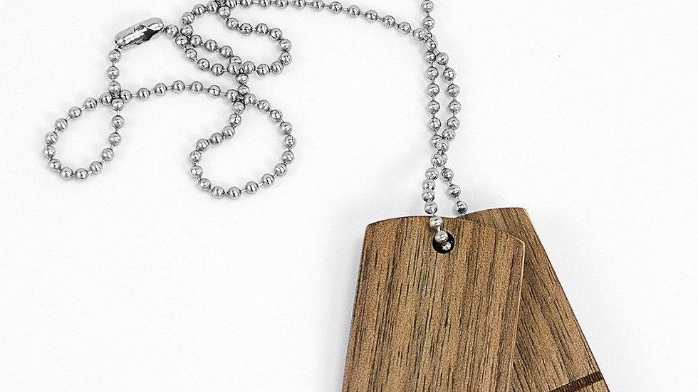Handcrafted Walnut and Ash Wood Dog Tags, sanded and finished by hand.