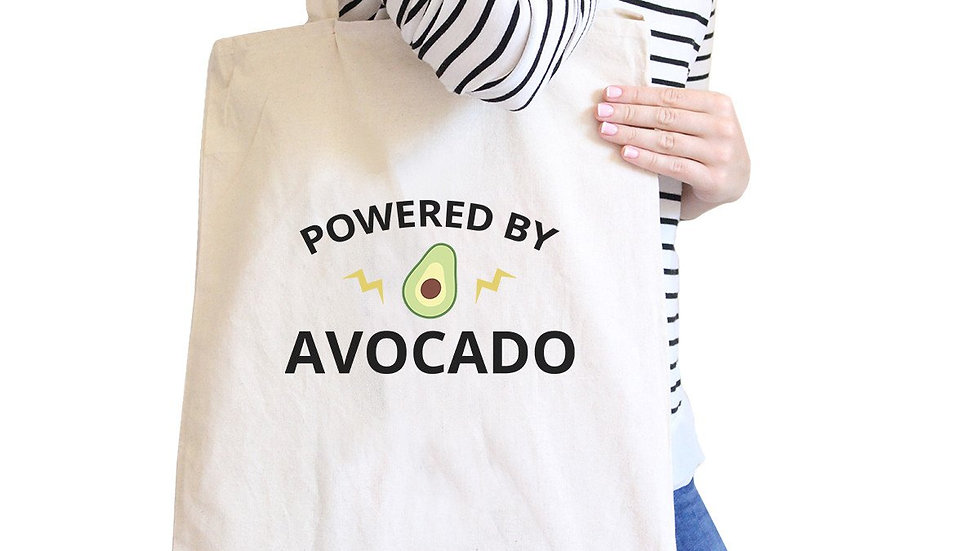Powered by Avocado Natural Reusable Canvas Tote
