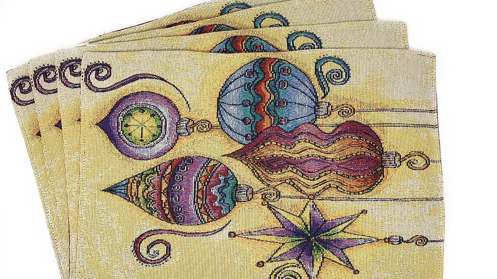 Designer table tapestry set, 4 Place mats,  2 Table Runners, 2 Pillow Covers