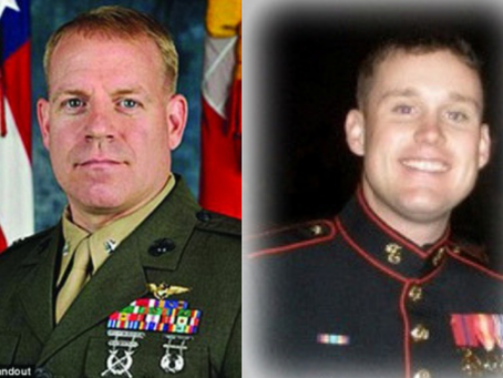 Marine Lieutenant Colonel Christopher K. Raible,  Marine Attack Squadron 211, and Marine Sergeant Br