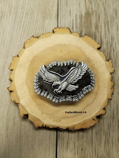 Front view of Eagle Belt Buckle on a plaque