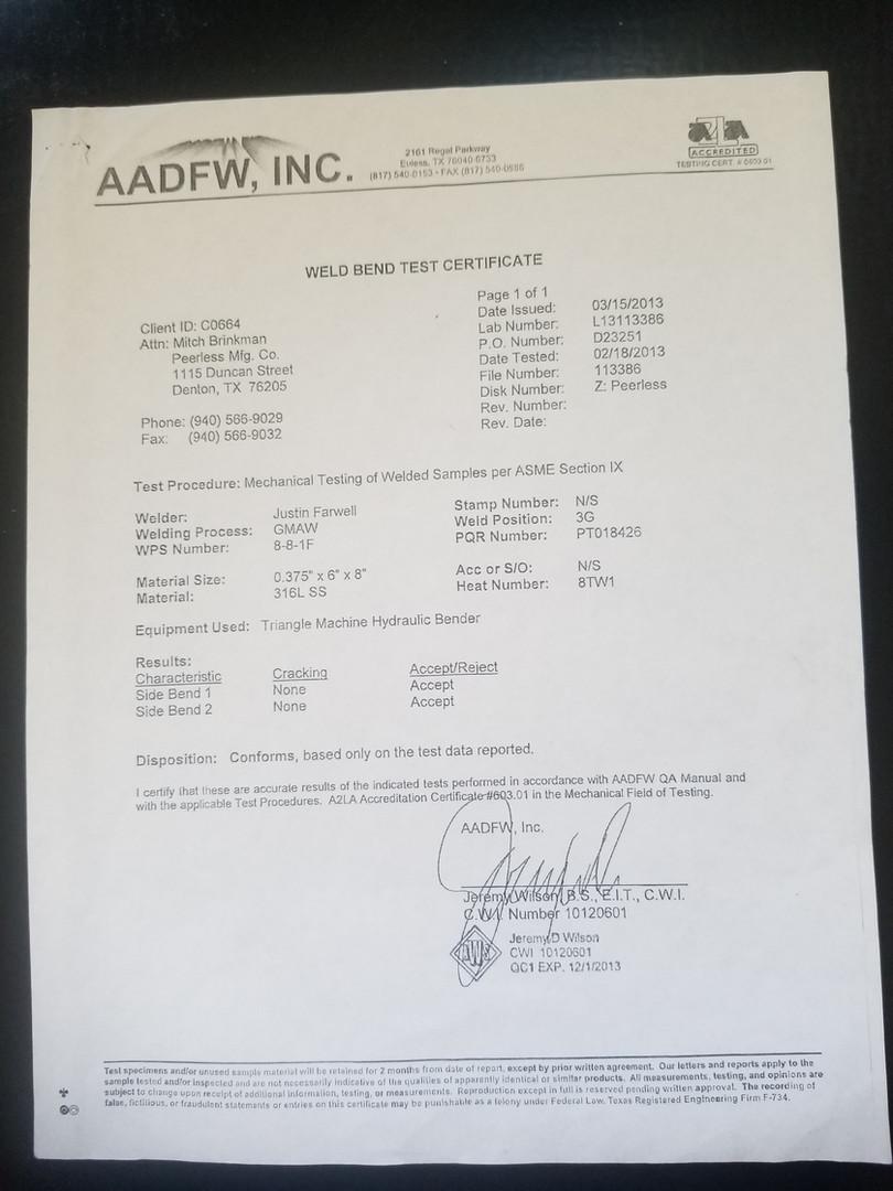 Weld Certification