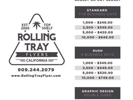 Rolling Tray Flyers Pricing Sheet