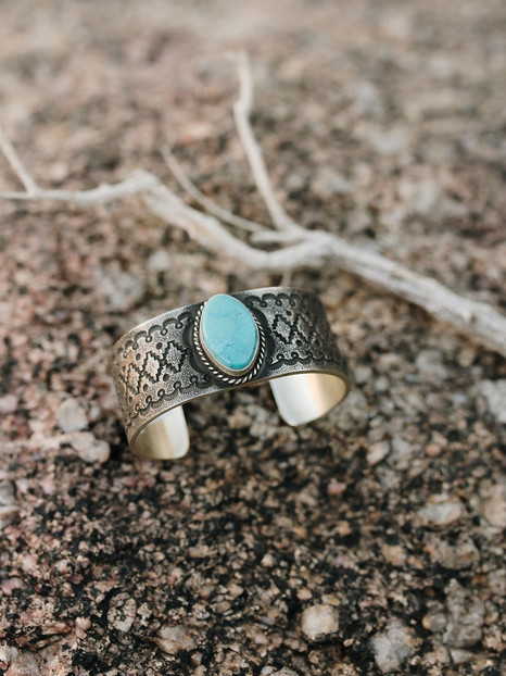 Tufa Cast Sterling Silver With Kingman Turquoise