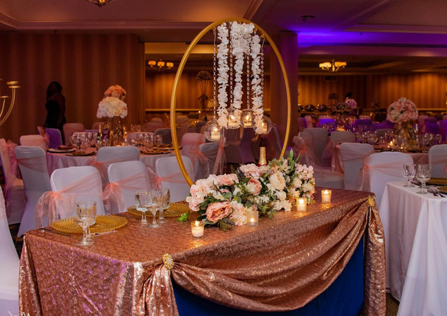 Floral Table Top with Hoop Centerpiece