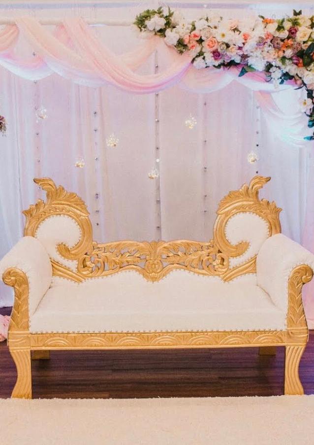 Gold-White Horned Love Seat