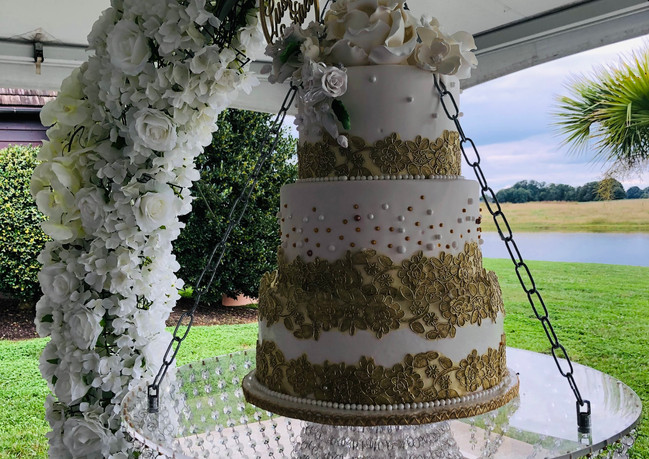 Micro-Wedding Floral Cake Swing