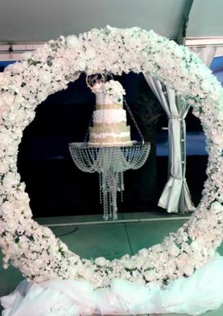 Floral Wedding Cake + Cake Swing