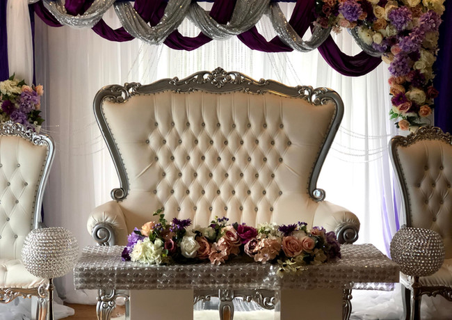 Silver Double Throne Chair