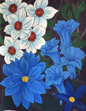 Blue Flowers Mural