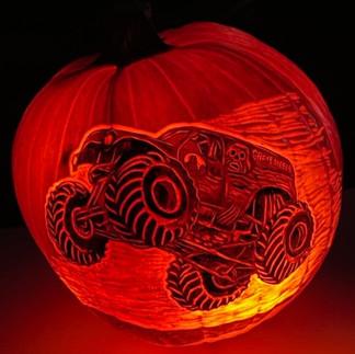 Monster Truck Pumpkin Carving