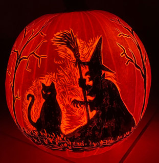 Witch and Cat Pumpkin Carving