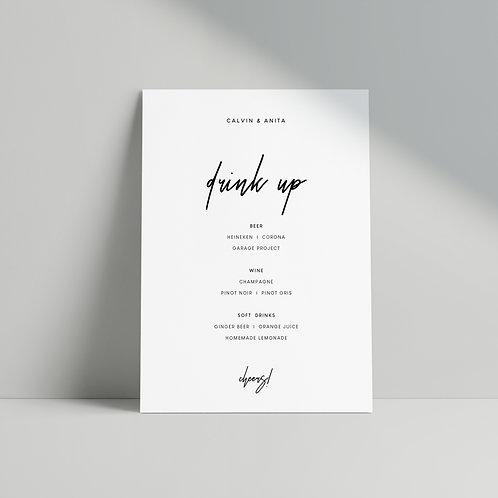 Modern Minimalist - Bar Menu