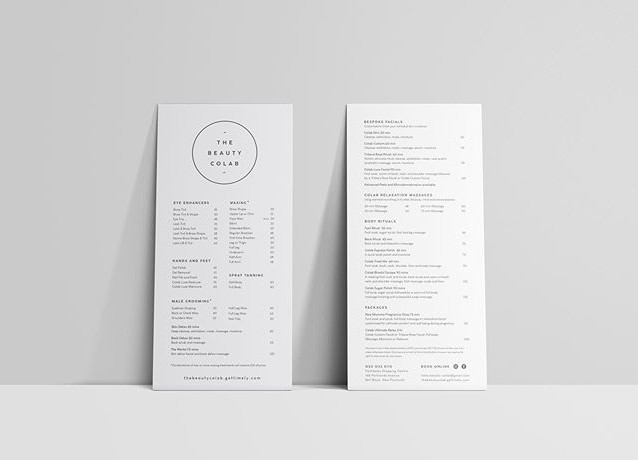 Treatment menus for @the.beauty.colab .