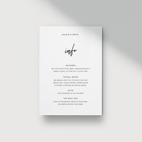 Modern Minimalist - Information Card