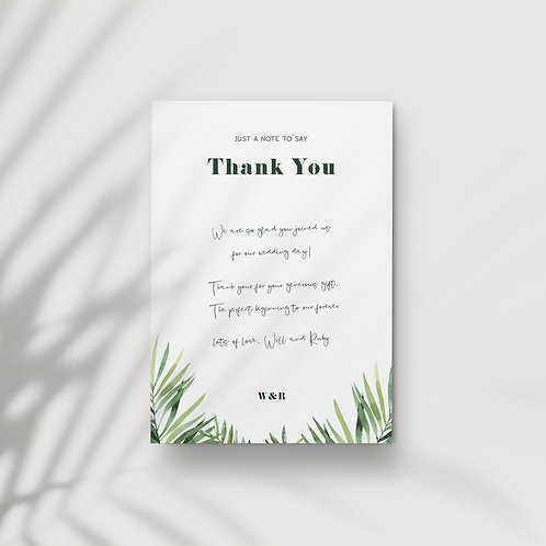 Bold Tropics - Thank You Card