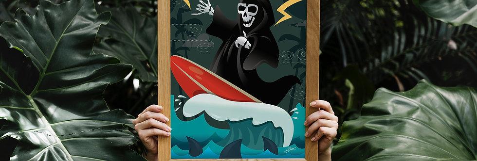 Surfing Reaper Print - 11x14