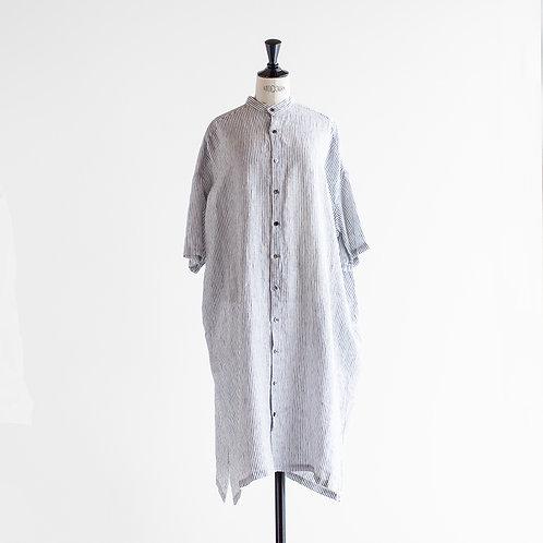 Linen Band Collar Shirts Onepiece