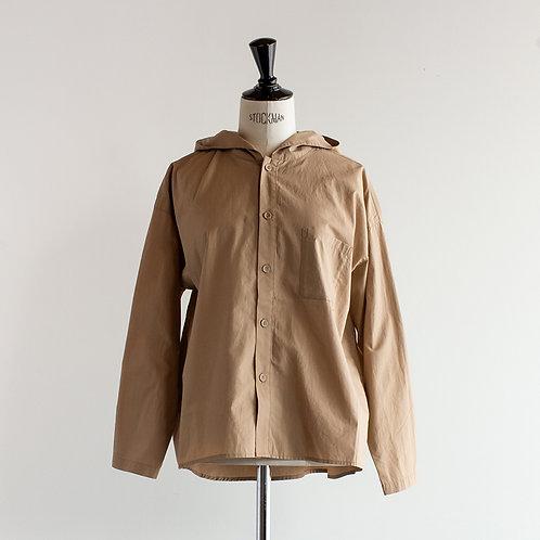 Cotton Linen Typewriter Open Hooded Shirt