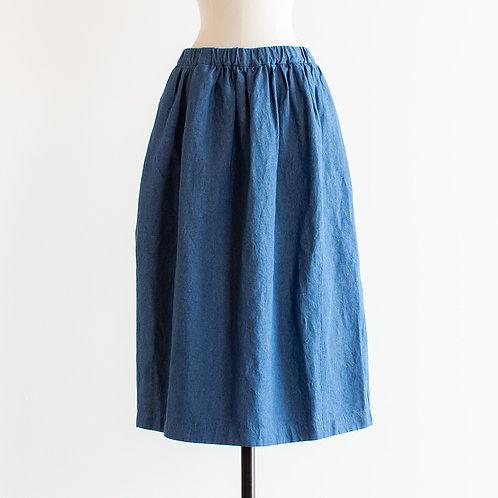 Cotton Linen Denim Cocoon Skirt