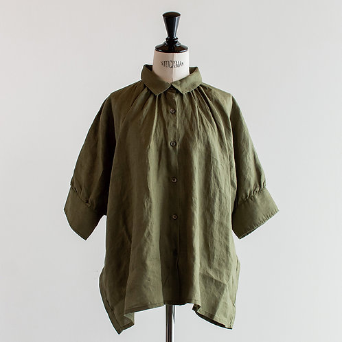 Linen Small Collar Gather Shirts