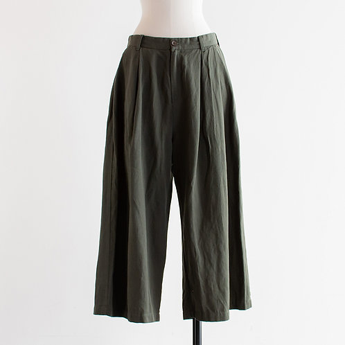 Ramie Cotton Twill Wide Tuck Pants