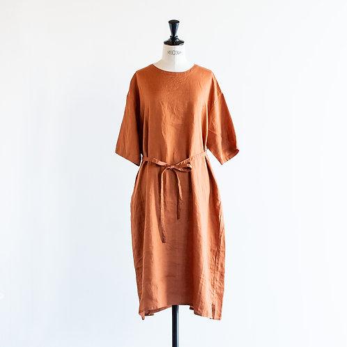 Linen Half Sleeve Pullover Onepiece