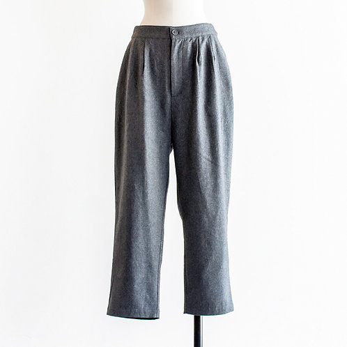 Wool Mix Tuck Tapered Pants