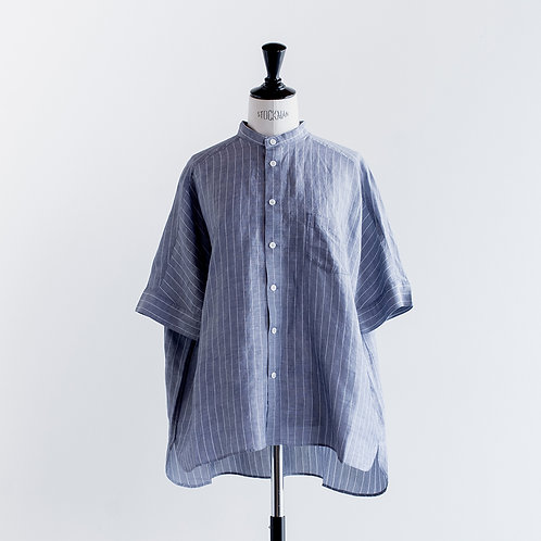 Linen Tencel Stripe Band Collar Shirts