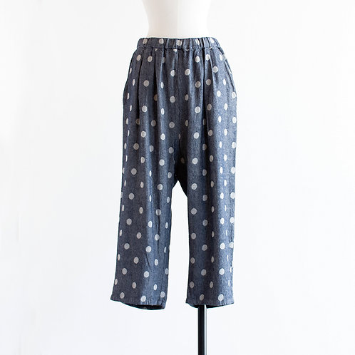 Twill Dot Wide Cropped Pants
