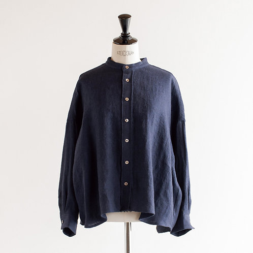 Linen Wool Herringbone Band Collar Wide Shirt