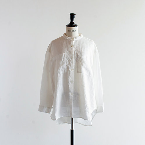 Linen Band Collar Pocket Shirts