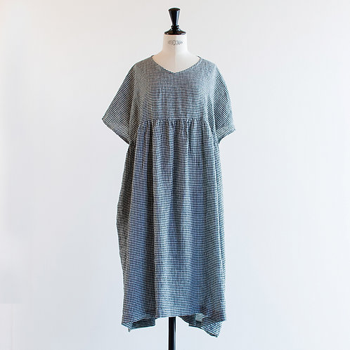 Linen Gingham French Sleeve Onepiece