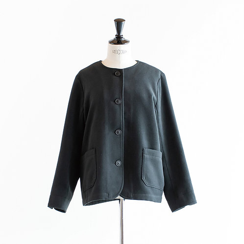 Fake Wool No Collar Jacket