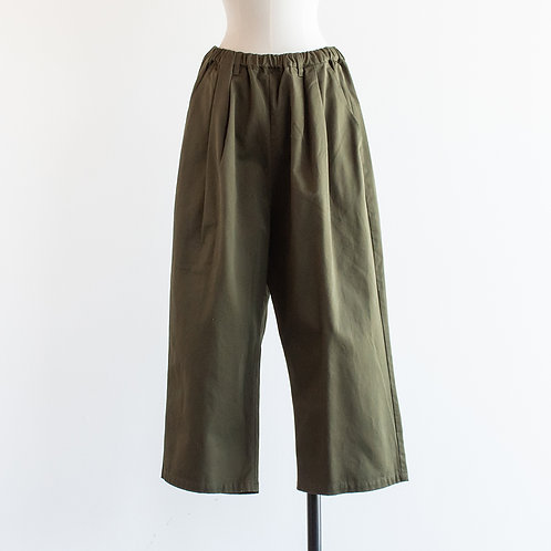Cotton Twill Wide Straight Pants