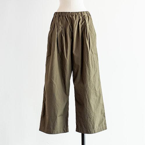 Cotton Typewriter Waist Tuck Wide Pants