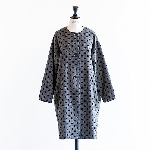 Wool Mix Dot No Collar Coat