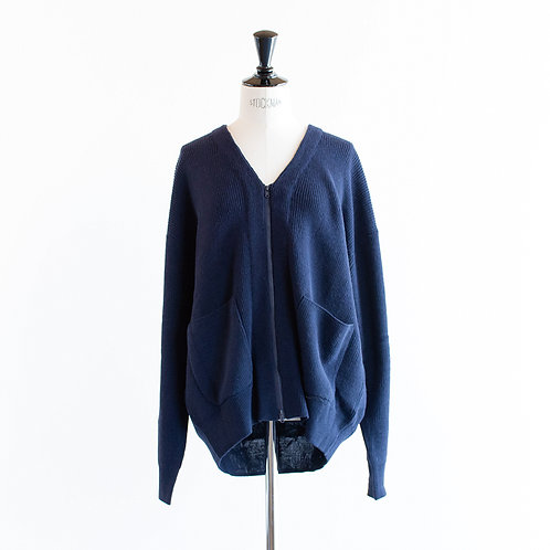 Wool Mix Knit Zip Cardigan