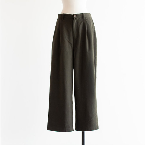 Wool Mix Tuck Wide Pants